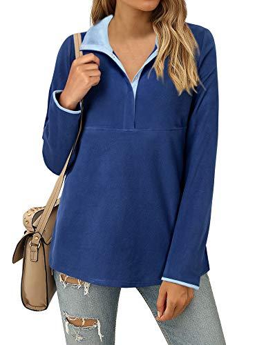 Furnex Womens Winter Tunic, Casual Long Sleeve Tunics Tops for Leggings Women Fashion Lapel Neck Fleece Shirts Ladies Petite Sweatshirt Work Button Down Pullover Fall Sweater Juniors Blue M