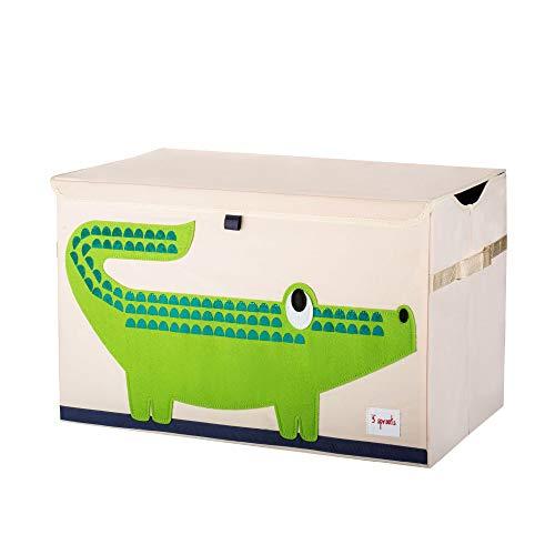 3 Sprouts - Coffre à jouets pour enfants - Coffre de rangement pour la chambre des garçons et des filles, Crocodile