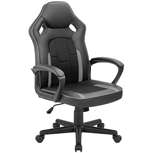 Tuoze Office Desk Chair Racing Style High Back Leather Gaming Chair Ergonomic Adjustable Swivel Executive Computer Chair for Home and Office (Grey) chair gaming