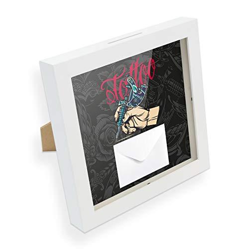 itenga Geldgeschenk I Spardose I Tattoo I Gutschein I Bilderrahmen zum Befüllen I Geschenkverpackung I inkl. Einleger und Briefumschlag zum Dekorieren