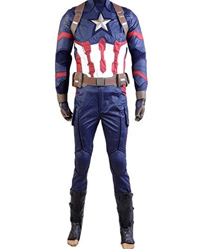Captain America: Civil War Steve Rogers Uniform Cosplay Kostüm Herren XL