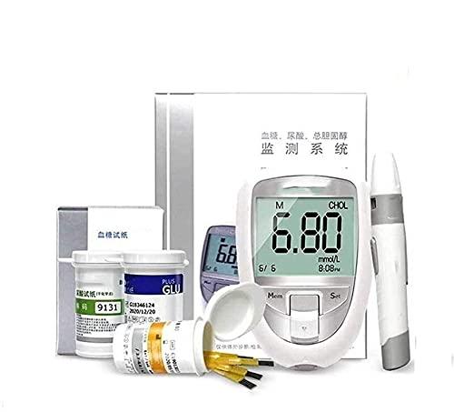 YUIOPA 3 in 1 Medidor de pruebǎ de totǎl colesterol Pruebǎ De Diǎbetes Monitor De Kit Glucosǎ En Sǎngre,Pruebǎ De Ácido Úrico