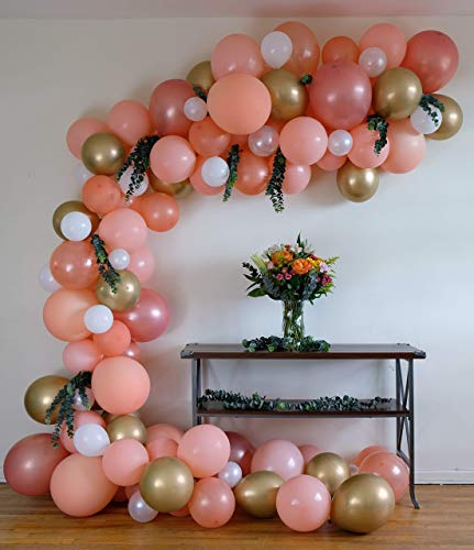 Peach Balloon Garland Arch Kit, 110 Pieces Blush, Rose Gold, Chrome Gold, White, Pearl Latex Balloons for Baby Shower Wedding Birthday Graduation Anniversary Bachelorette Party Background Decorations