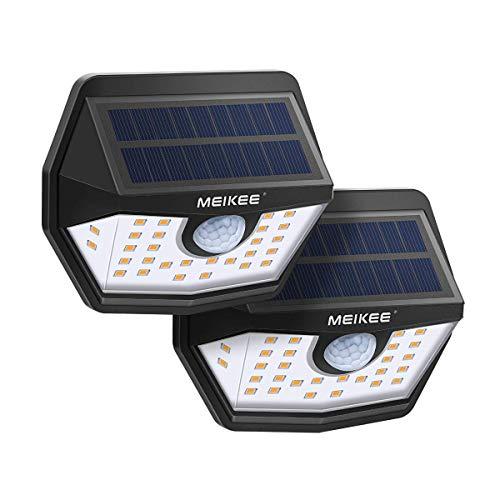 Luz Solar de Exterior 450LM, MEIKEE Lámpara Solar con Sensor de Movimiento de 3-8M Detección, 30 LEDs Super Brillante Blanco Cálido, Foco Solar Exterior Impermrable IP66 para Jardín, Camino