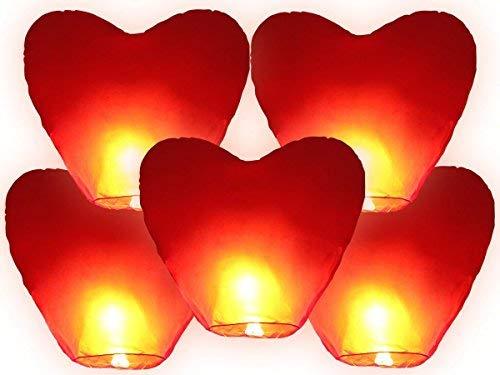 JRing Lanternes Volantes Blanches,Lanternes Chinoises Volantes en Forme de Cœur Rouge (Lot de 5)