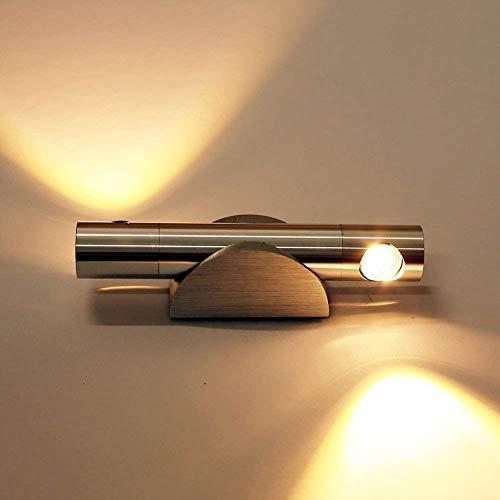 ETiME LED Wandleuchte 6W Wandlampe Flurlampe Wandleuchte 360° drehbar Wandlicht Lampe Leuchte Badleuchte aus Aluminium Effektlampe Treppenhaus(6W warmweiß)