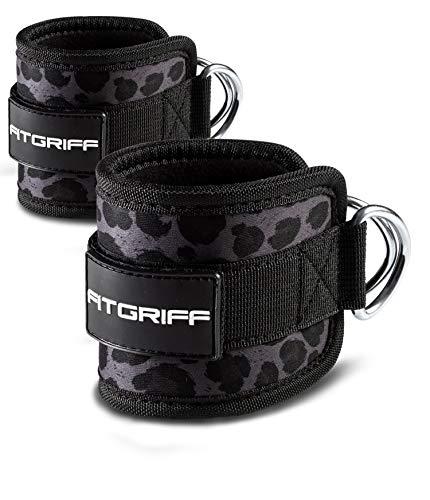 Fitgriff® Fußschlaufen (gepolstert) - für Fitness Training am Kabelzug - (2 Stück) Ankle Straps für Frauen und Männer (Leopard)
