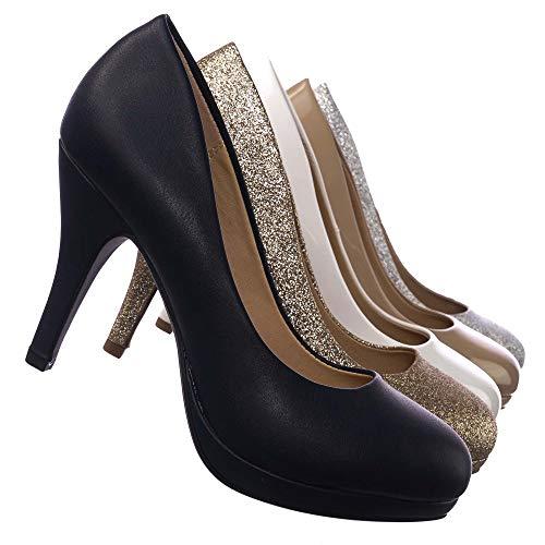 Comfortable Foam Padded Round Toe Classic High Heel Pump, Black Pu, 5