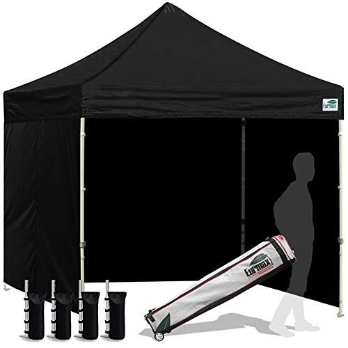 Eurmax 8x8 Feet Ez Pop up Sport Tent, Pop-up Instant Tent, Outdoor Canopies Gazebo with Sidewalls and Roller Bag, Bonus 4 SandBags, (Black)