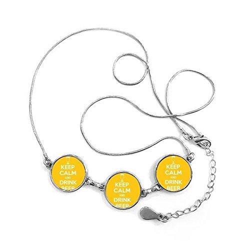 DIYthinker Zitat Behalten Sie Ruhe und Trinken Bier, Weiß, Gelb Cup Lustige Illustration Muster runde Form Halskette Schmuck mit Kette Dekoration