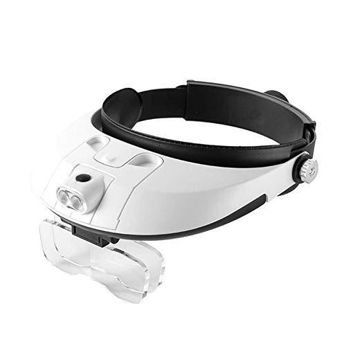 globeagle Magnifying Glass, 1.0-6.0X Headwear Magnifier for Reading Microscope Magnify Glass with Lamp - A