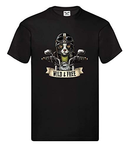 T-Shirt - Katze Motorrad Helm Vintage - Tshirt für Herren und Männer