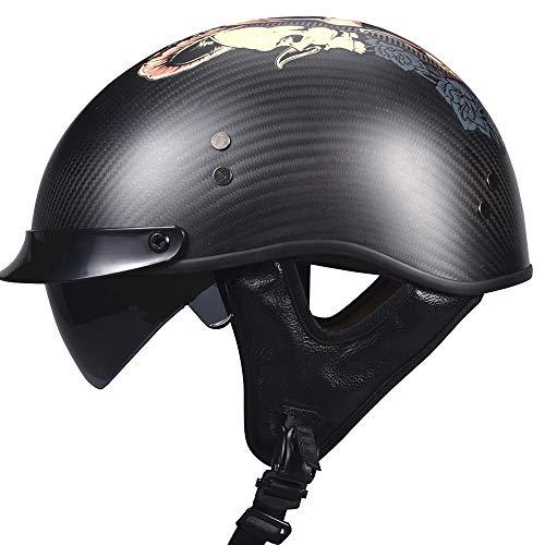 VCOROS Carbon Fiber Open Face Motorcycle Helmet Sun Shield Man Women Cruises Half Face Retro Helmets (Monster Skull, L)