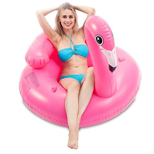 JOYIN Aufblasbare Flamingo Luftmatratze, Pool Float, Schwimmen Floß, Strand Schwimmbad Spielzeug, Aufblasbarer Schwebebett für Erwachsene & Kinder mit 2 Getränkehaltern und Kopfstütze