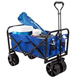Wakeman Outdoors 75-CMP1097 Folding Wagon – Collapsible All-Terrain Utility Pull Cart with Extra Wide Wheels for Camping, Beach, Sports or Grocery Shopping