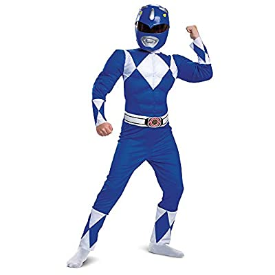 Blue Power Ranger Costume, Kids Size Beast Morphers Muscle Padded Character Jumpsuit and Mask, Classic Child Size Small (4-6) by Disguise