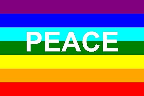 Durabol Bandera de Peace 150 x 90 cm Flag Colgante Arcoiris Gay Lesbiana Bandera LGBT Orgullo Parade Paz
