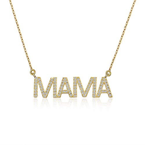 BMMYE Gold Mama Letter Necklace Dainty Pregnancy Gift Charm Necklace for New Mom Delicate Cubic Zirconia Script Necklace