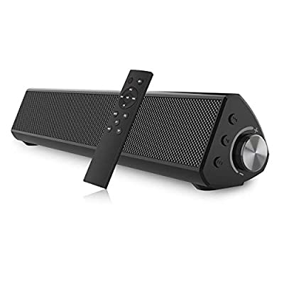 Portable Sound bar, Bestisan Soundbar Wired and Wireless Bluetooth 5.0 Speaker for TV Speakers Mini Home Theater Surround with Built-in Subwoofers Remote Control Smartphone Tablet PC Desktop Projector from Coxun