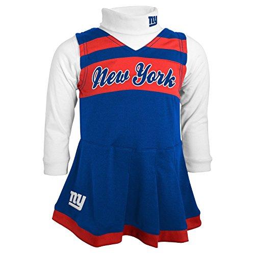 NFL New York Giants Girls Cheer Jumper Dress with Turtleneck Set, Large, DK Royal