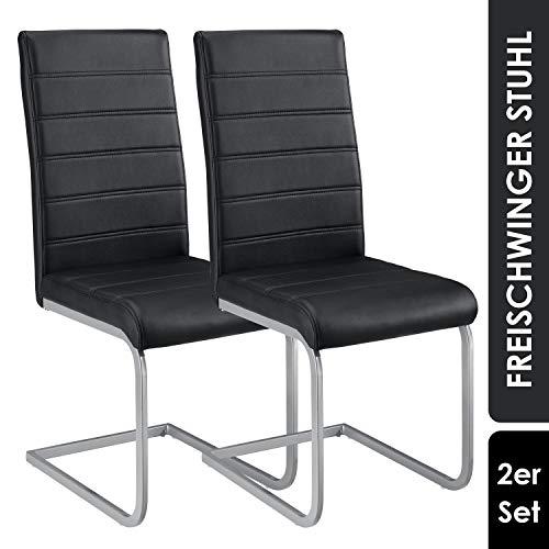 ArtLife Freischwinger Stuhl Vegas 2er Set   Kunstleder Bezug + Metall Gestell   120 kg belastbar   schwarz   Esszimmerstühle Schwingstühle