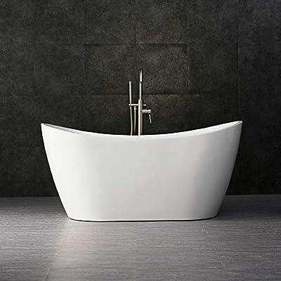 "WOODBRIDGE BTA-1516 Acrylic Freestanding Bathtub Contemporary Soaking Tub with Brushed Nickel Overflow and Drain, BTA1516, 59"" B-0016 White"