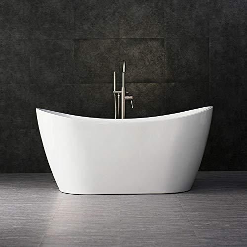 Product Image of the WOODBRIDGE BTA-1516 Acrylic Freestanding Bathtub Contemporary Soaking Tub with Brushed Nickel Overflow and Drain, BTA1516, 59' B-0016 White