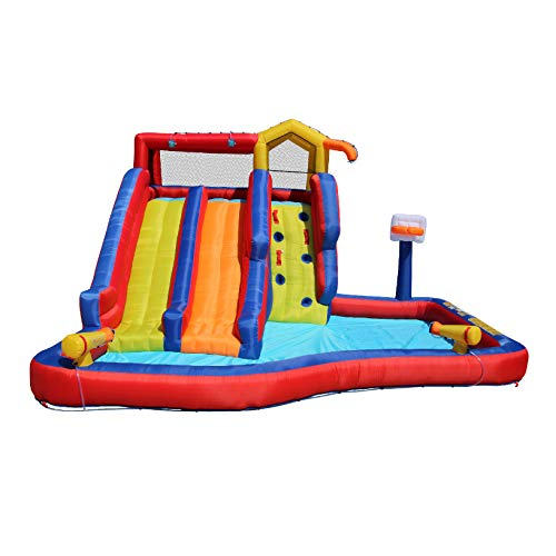 Banzai Twin Falls Kids Giant Colorful Outside Inflatable Water Park Bounce House for Children Ages 5 to 12 Years Old