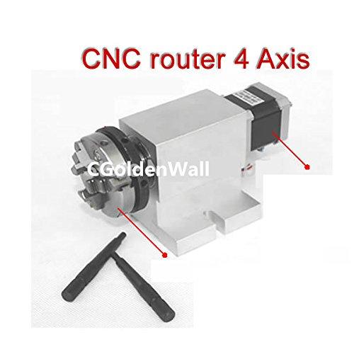 cgoldenwall CNC 4 Axis (4e Aixs, rotary bijl, kop) voor CNC-router, met naadloze overgang harmonische transmissie. Chuck 50mm