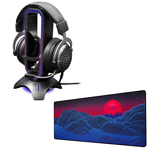 Tilted Nation RGB Headset Stand + Extended Mouse Pad Large Bundle - Immerse in Your Gaming - 3 in 1 Gaming Headset Stand with Mouse Bungee and USB Hub - Gaming Mouse Pad (Synth Galaxy Theme)