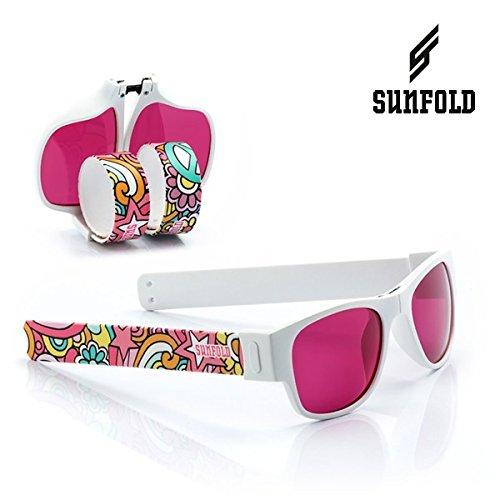 Sunfold Tribu Gafas de Sol Enrollables, Hombre, Blanco y Estampado, Talla Única
