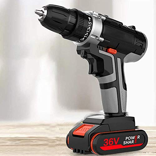 UWY Impact 18V Cordless Drill Set with 2 Lithium Ion Batteries,10mm Chuck,Variable Speed,15 + 1 Torque Setting with LED,