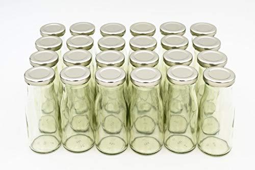 24 Leere Flaschen, kleine Glasflaschen 150 ml weiß TO43 mit silbernen Verschluss. Kleine Flaschen zum Befüllen von Milchflaschen, Saftflaschen, Schnapsflaschen klein oder als Vasen Deko benutzbar
