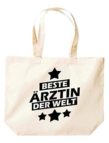 Shirtstown - Sacchetto con scritta in lingua tedesca 'Bester Arzt der Welt', colore: Bianco, Beige (naturale), 35 cm x 39 cm x 13 cm