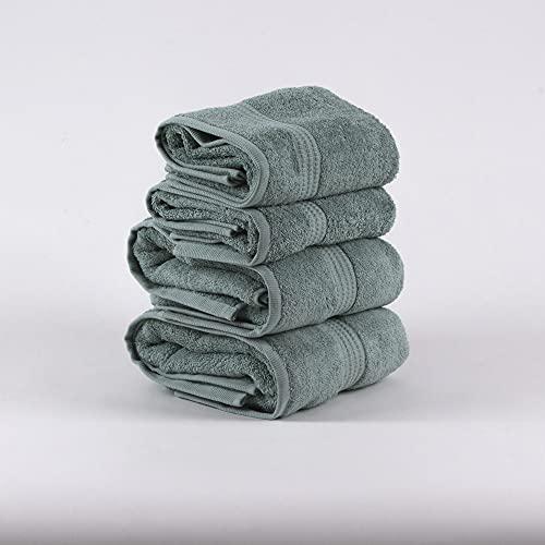 PimpamTex – Juego de Toallas Premium 700 Gramos de Secado Rápido para Baño, 100% Algodón, Pack Toallas de Baño + Toallas de Mano – (Verde, 2 de 70x140 cm + 2 de 50x100 cm)