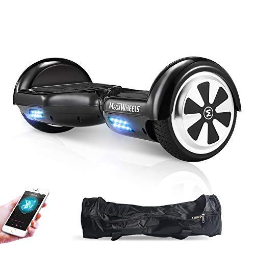 M MEGAWHEELS Scooter-Patinete Eléctrico Hoverboard, 6.5 Pulgadas con Bluetooth - Motor eléctrico 500w, Velocidad 10-12 Km/h.(Negro)