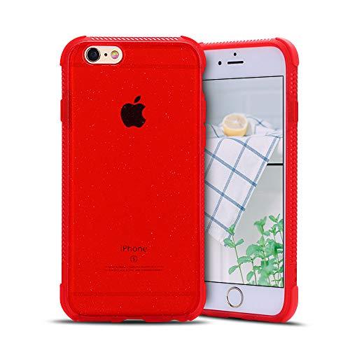 Anfire-ES Funda para iPhone 5 / 5S / SE, Silicona Case de Suave y Transparente Carcasa, Flexible Gel TPU, Ultra Ligero [Esquinas Reforzadas] Bumper Caja Claro Blando Caso Cubierta Trasero - Rojo