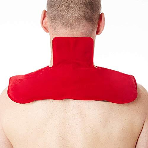 Faimex extra grosses Wärmekissen für den Nacken Kissen zur Auflage mit schwarzem Naturmoor Nackenkissen Rückenkissen Schulterkissen in rot Wärmekissen Natur Moor flexibles Schulter pad