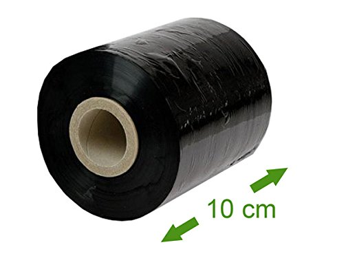 1 x Stretchfolie (Palettenfolie, Plastikfolie, Handwickelfolie) - GRANAT, Schwarz, Breite 10cm, Länge 150m