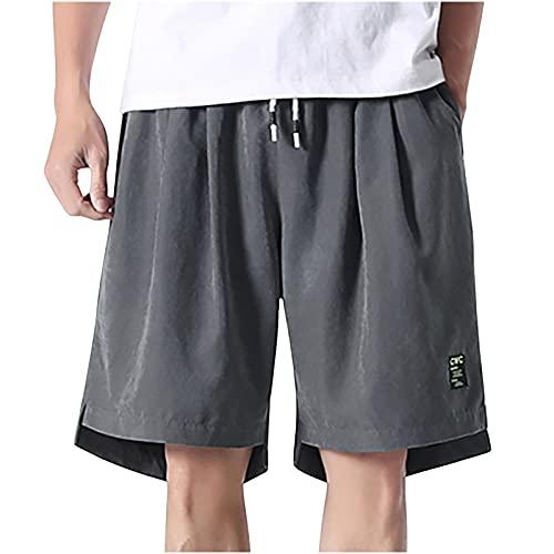 Pantalones de ocio para hombre, cortos, sueltos, cómodos, pantalones de chándal para hombre, pantalones de verano, de un solo color, con cordón, gris, XL