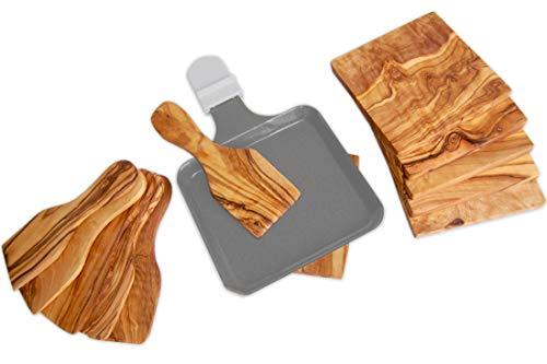 D.O.M.® Raclette-Spachtel und Untersetzer aus Olivenholz (8er Set Spachtel und Untersetzer)