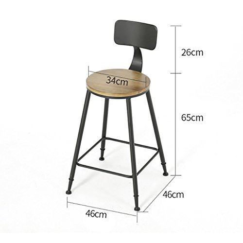 Lwjjby Barstool Retro Massief hout IJzeren kunst Industriële wind Kinderstoel stoel persoonlijkheid Hoge kruk Barkruk A2