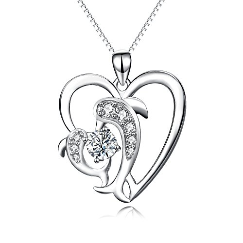 Sterling Silver Dolphin Necklaces Mother Daughter Necklace Jewelry Dolphin Gifts for Mother's Day