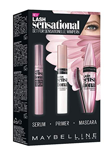 Maybelline New York Lash Sensational Mascara-Set - mit Wimpernserum, Primer und schwarze...