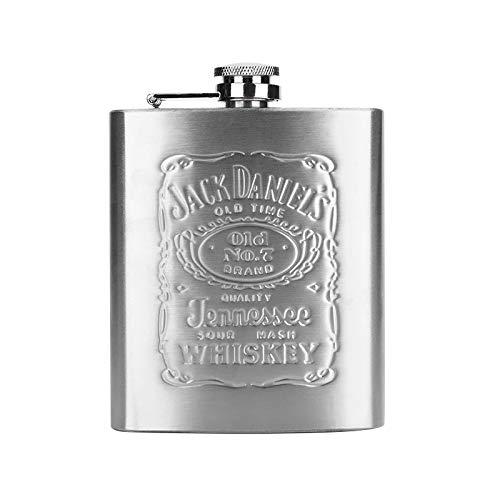 Jack Daniel's Stainless Steel Hip Flask 6oz Jack Daniel's Schwarz, 170 ml