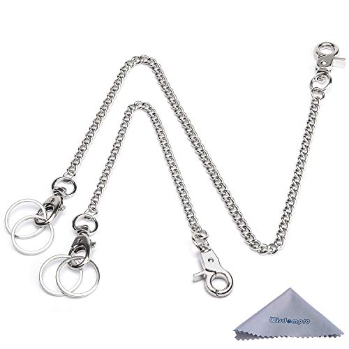Wallet Chain, Wisdompro 2 Pack (8 and 16 Inch) Heavy Duty Pocket Keychain with Both Ends Lobster Clasps and Extra 2 Rings for Keys, Wallet, Jeans, Pants, Belt Loop, Purse and Handbag - Silver
