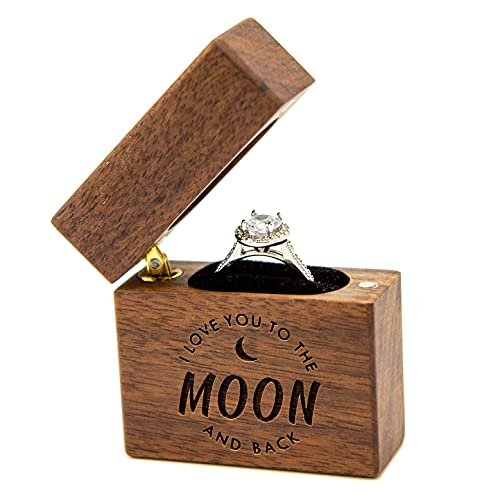 MUUJEE Slim Wood Ring Box - I Love You to The Moon & Back Proposal or...