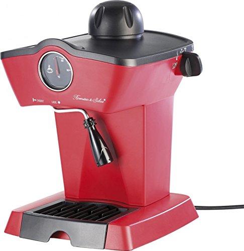 Rosenstein & Söhne Espressomaschine Retro: Dampfdruck-Siebträger-Espressomaschine mit Milchaufschäumer (Siebträgermaschine Retro)