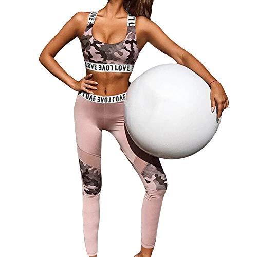 Traje de Entrenamiento para Mujer Conjunto de Mallas de Yoga de 2 Piezas sin Costuras Conjuntos Activos Sujetador Deportivo Ropa Deportiva (Pink, M)