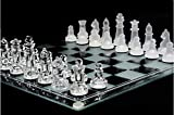 Gnanex 10 Inch Glass Chess Set Featuring Frosted and Clear Glass